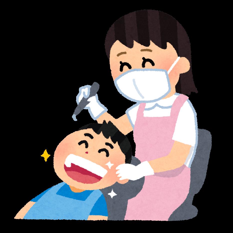 歯のクリーニングのイラスト「歯科衛生士さんと子供」 | かわいいフリー素材集 いらすとや